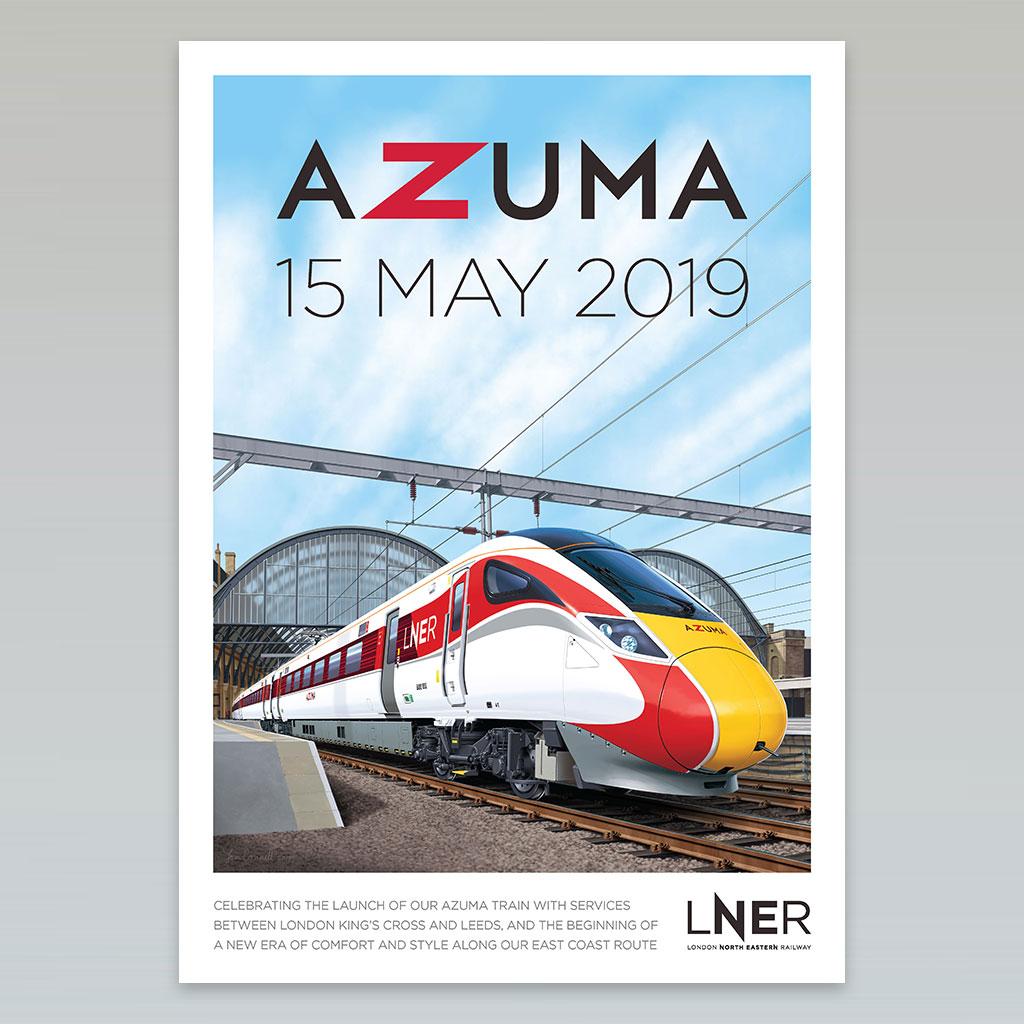 LNER Azuma Launch Poster – London King's Cross to Leeds first Azuma passenger service, 15 May 2019