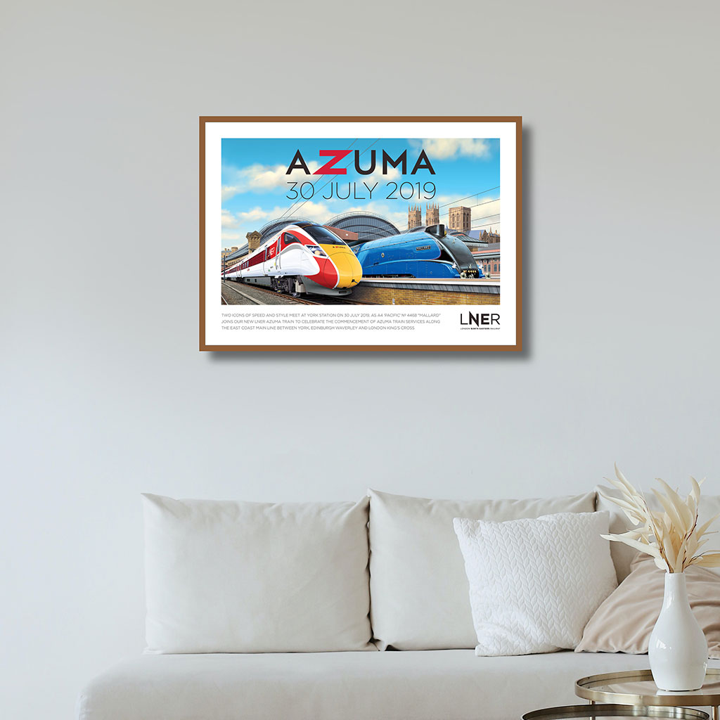 LNER Azuma Launch Poster – York launch commemorated with Azuma and Mallard together at York station, 30 July 2019 1